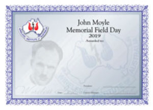 John Moyle Competition certificate